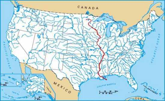 ...,  Mississippi and Louisiana before spilling into the Gulf of Mexico